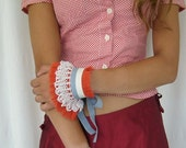 Valentine Red Ruffles Cuff Arm Band in Red Cotton with Vintage Crochet Lace Grey Cotton Ribbon OOAK