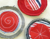 Nautical Fabric Circle Brooch in Red, White and Blue 2 by OnePerfectDay