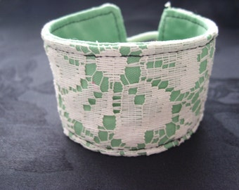 Lace Cuff Band - White and Green Wrist Cuff Bracelet