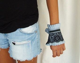 Victorian-Inspired Fabric Bracelet Cuff  - Black Lace on Ice Blue Ruffle Cuff by  by OnePerfectDay