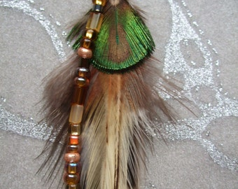 Feather Earring - Long Browns n Creams feathers w Peacock in Green n Gold w Long Beaded Strand of Glass n Pearls