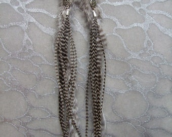 METZ Feather & Fur Earrings- Striped Long Grizzly feathers w Grey Rabbit Fur, Chinchilla pattern, with Ornate Charms and Chains