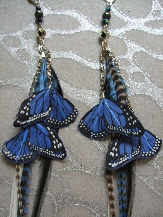 Feather Earrings w Blue Butterfly Wings, Chains, Beads Long Blue & Black Grizzly, White and Black Grizzly