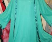 ON SALE Vintage 60s GREEN Nylon Lace Gown Nightgown Robe Peignoir SET M
