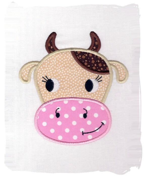 Cute Cow Machine Embroidery Applique