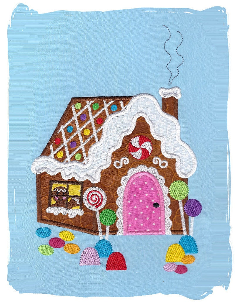 gingerbread house machine embroidery applique design
