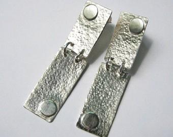33% OFF SALE -Hammered Rectangle Earrings - Sterling Silver Rectangle Earring Posts, Chic Long Dangles, Circles, Modern Minimalist Metalwork