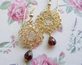 Garnet Earring, Gold filled Crochet  Circle Earring, Garnet Tear Drop, Bridesmaid Earring