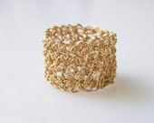 Gold Band Ring, Wide Band Ring, Crochet Wire Ring, Gold Lace Ring, Gold Filled Ring