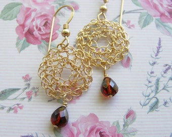 Garnet Earring, Gold filled Crochet  Circle Earring, Garnet Tear Drop, Bridesmaid Earring