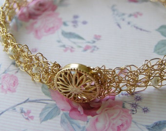 Crochet Gold Filled Bracelet, Wire Brcelet, Bridal Fresh Water Pearls Bracelet, Bridesmaid Jewelry, Wire Crocht Jewelry