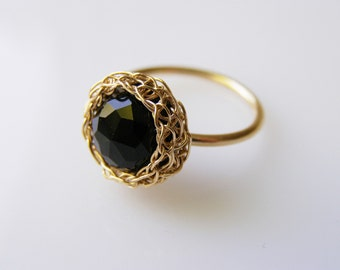 Crochet Ring -  Goldfilled Round Onyx Ring