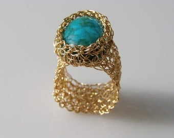 Crochet Ring, Turquoise Ring, Crochet Goldfilled, Oval Turquoise
