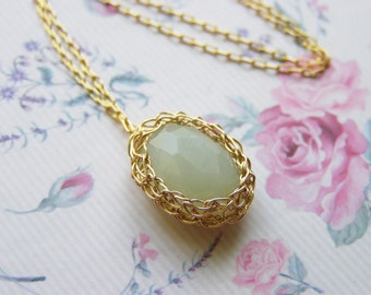 Jade Pendant - Goldfilled Wire Oval New Jade Pendant