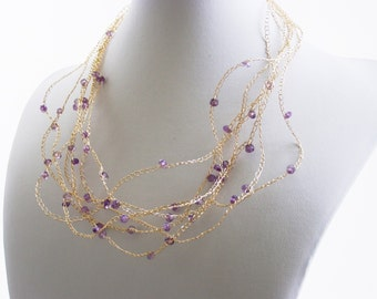 Amethyst Necklace,  Crochet Goldfilled Chains Amethyst Beads