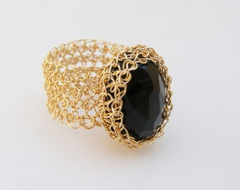 Crochet Ring, Onyx Ring, Crochet Gold Filled Wire, Wire Crochet Jewelry, Crochet Goldfilled