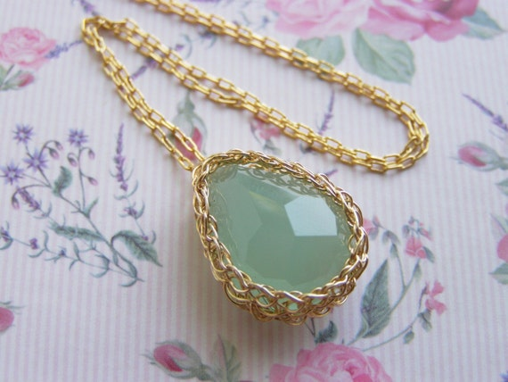 Crochet Pendant, Corchet Goldfilled Medium Tear Drop Synthetic Quartz Aqua Pendant