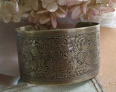 FREE SHIPPING - Two or more items - Tulip Garden Cuff Bracelet - Vintage inspired, antiqued brass cuff with stamped floral design
