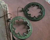 FREE SHIPPING - Two or more items - Deco Arch Earrings (verdigris) - Vintage inspired antiqued brass verdigris patina intricate design hoops