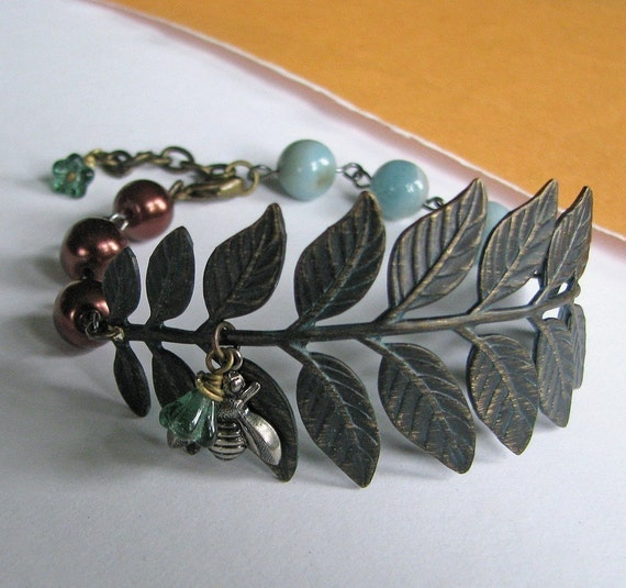 FREE SHIPPING - Two or more items - Rain Forest Bracelet - Vintage botanical inspired, brass leaves, bee, amazonite, chocolaty brown pearls