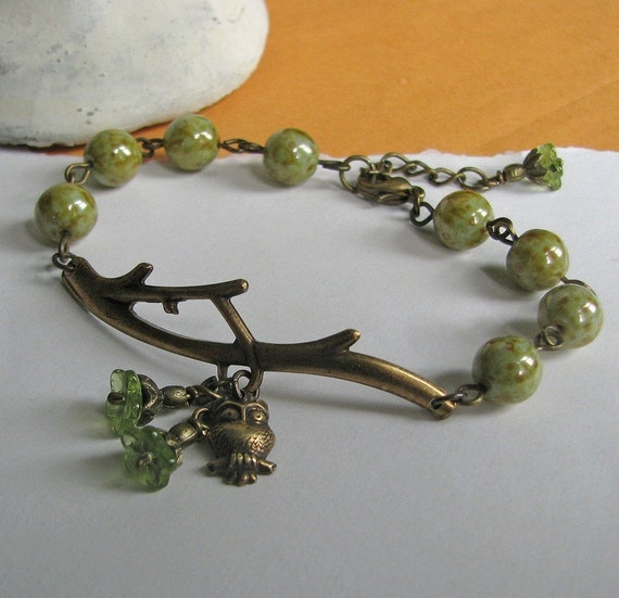 FREE SHIPPING - Two or more items - Woodland Bracelet (owl) - Botanical inspired antiqued brass branch, flowers, owl, green speckled glass
