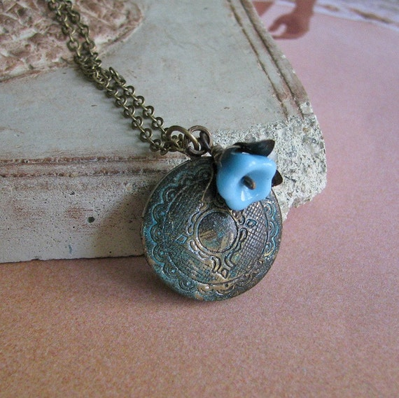 FREE SHIPPING - Two or more items - Forget-Me-Not Locket - Vintage and botanical inspired verdigris antique brass and sky blue glass flower