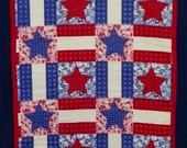 Fabulous Quilt Table Top Runner Red White Blue with Stars 43 x 17 TR5