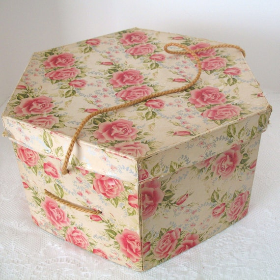 Vintage Hat Box With Pink Roses