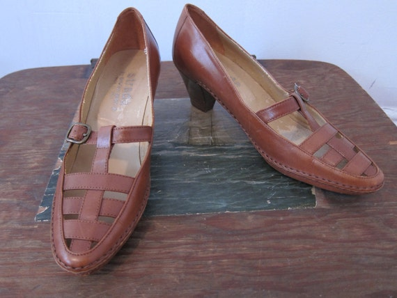 1970s Caramel Leather Woven Heels 7.5 AA