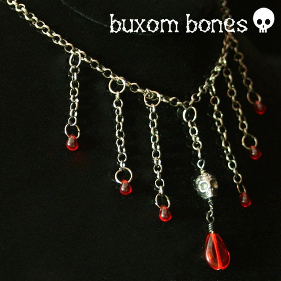Gothic Jewelry - Gunmetal Skull Necklace with Blood Drops