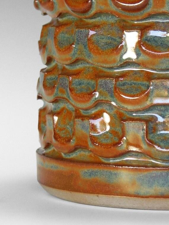 SALE PRICE Handmade Ceramic Vase in Blue-green and Rust