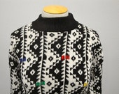 Women's Vintage Large Oversized Abstract Native American Knit Sweater