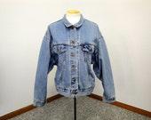 Vintage 80's Women's Large LEVI'S Denim Oversized Western Work Jacket