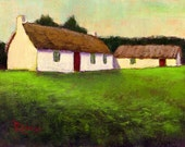 Irish Thatched Roof Cottages... Ireland landscape... Original Daily Painting by Rosage...6x8""