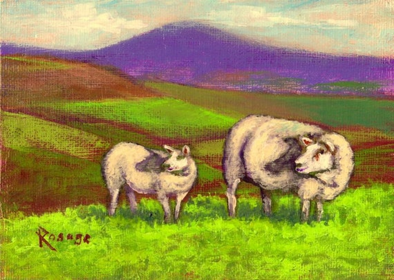 Irish Hilltop with Sheep... Ireland landscape... Original Daily Painting by Rosage...5x7""