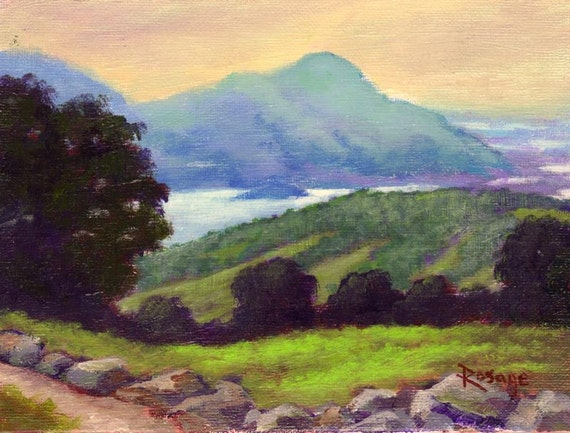 "Irish Landscape... ""Ladies View"", County Kerry, Ireland...  Original Daily Painting by Rosage...6x8"""