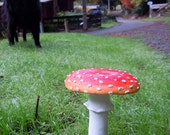 Amanita Mushroom Sculpture with Stake (5.5 inches tall)