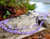 ON SALE Two Tiered Amethyst and Lotus Charm Necklace w/ sterling silver (17.5-20 inches long)