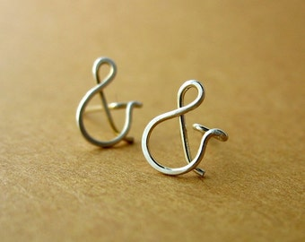 Ampersand Typography Studs Sterling Silver Post Earrings