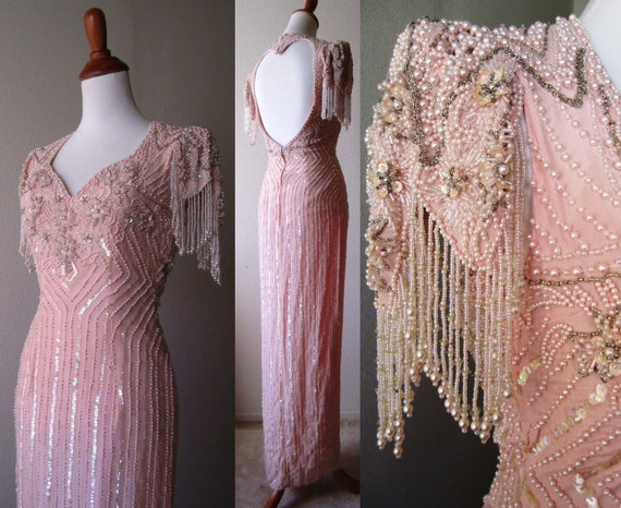 breath-taking Pale Pink GOWN smothered in pearls, beads and sequins