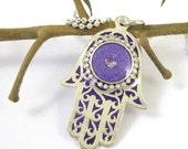 Purple  Hamsa - silver charm necklace