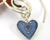 Spiral Silver Earrings with hanging blue Heart