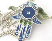Blue  Filigree Hamsa, silver hamsa ,   Silver Necklace, blue hamsa, resin