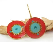 Gold round earrings , Turquoise and red earrings , Dangle earrings