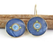 Denim blue earrings - Gold dangle   round earrings