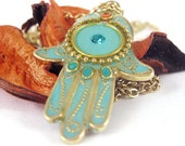 Turquoise Hamsa necklace, gold charm Necklace, turquoise necklace, amulet necklace, gold hamsa