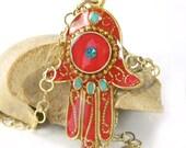Hamsa necklace, Red Hamsa, hamsa jewelry, gold hamsa,  , charm necklace, judaica jewelry, good luck charm