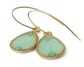 Dangle earrings, Gold Drops Earrings --  light green resin  , for her, valentines day,