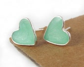 Mint stud heart Earrings, tiny sterling silver studs, post earrings, mint jewelry, valentines day gift, for her, girls