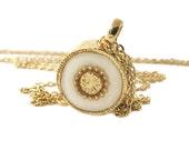 Gold Necklace , long necklace, 14K gold filled, Black & white, versatile necklace
